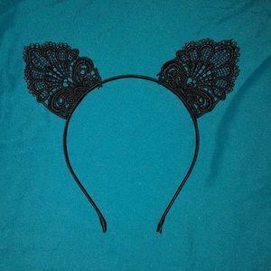 Black Lace Cat Ear Headband Forever 21